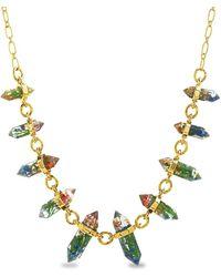 Steve Madden Encapsulated Resin Flower Necklace - Metallic