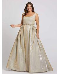 Mac Duggal Scoop Neck Metallic A-line Gown-gold