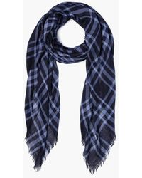 Chan Luu Cotton Square Plaid Scarf In English Manor - Blue