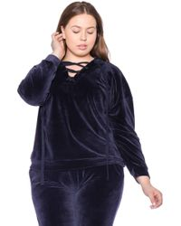 Slink Jeans The Velour Lace-up Hoodie - Blue