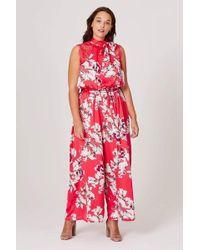 Elvi Piper Floral Print Jumpsuit - Red
