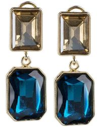 Jardin Champagne And Blue Double Drop Earrings