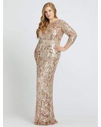 Mac Duggal Long Sleeves Sequin Gown-rose Gold - Metallic