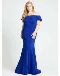 Mac Duggal Off-the-shoulder Foldover Trumpet Gown-sapphire - Blue