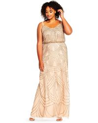 Adrianna Papell - Beaded Blouson Gown-taupe/pink - Lyst