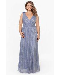 Xscape V-neck Metalic Knit Maxi Gown - Blue