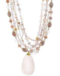 Catherine Malandrino Beaded Layered Pendant Necklace - Metallic