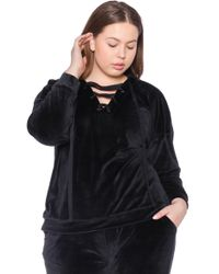 Slink Jeans Lace-up Velour Hoodie - Black