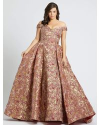 Mac Duggal Off-the-shoulder Floral Print Ball Gown-rose Gold - Pink