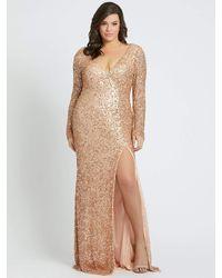 Mac Duggal Long Sleeves Sequin Thigh Slit Gown-rose Gold - Metallic