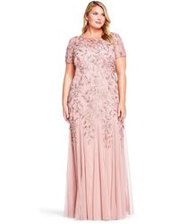 Adrianna Papell Floral Beaded Godet Gown-rose Gold - Pink
