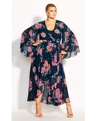 City Chic Jade Floral Maxi Dress - Blue