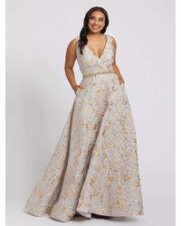 Mac Duggal V-neck Gold Floral Brocade A-line Gown-platinum Gold - Metallic