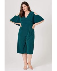 Elvi Winnie Cropped Jumpsuit With Cape Back - Green