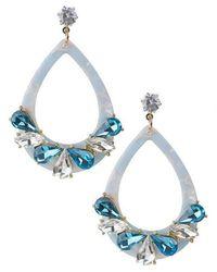 Jardin Blue Resin And Crystal Earrings