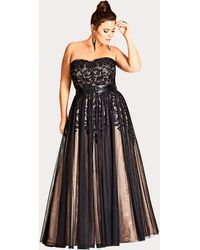 City Chic Embroidered Tulle Maxi Dress - Black
