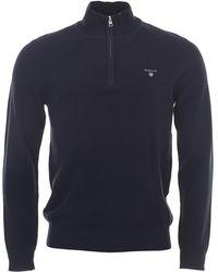 GANT Cotton Pique 1/2 Zip Sweater - Blue