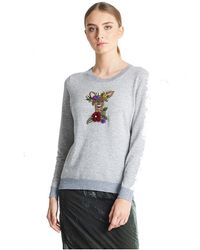 JEFF Chai Deer Embroidery Sweater - Gray