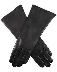 Dents Helene Cashmere Lined Long Plain Leather Gloves - Black