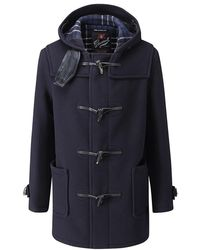 Gloverall Style 3251c Mid Length Duffle Coat - Blue