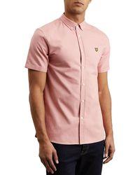 Lyle & Scott Lyle And Scott Men's Short Sleeve Oxford Shirt - Pink