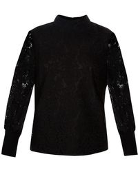 Ted Baker Dilly Lace High Neck Half Sleeve Top - Black