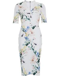 Ted Baker Lylli Elegance Print V Neck Bodycon Dress - White