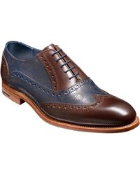 Barker Grant Paisley Hand-painted Leather Brogue - Blue