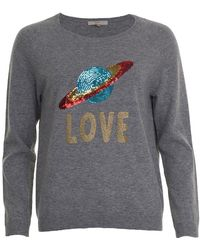 JEFF Clint Planet Sequin Sweater - Gray