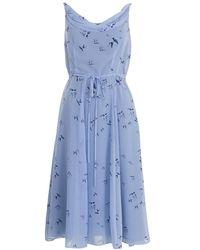 Almost Famous - Bird Print Silk Dress - Lyst