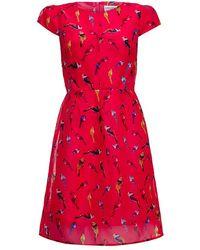 Almost Famous - Organza Bird Print Dress - Lyst