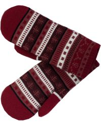 Dents Fair Isle Knit Mittens - Red
