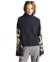 JEFF Bonzai Flower Sleeves Sweater - Gray