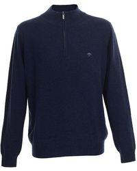 Fynch-Hatton Cashmere Blend 1/4 Zip Jumper - Blue