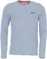 Blue Superdry Mens Longsleeved Orange Label Vintage T-Shirt