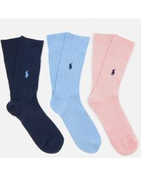 Polo Ralph Lauren - Men's Egyptian Cotton Rib Crew 3 Pack Socks - Lyst