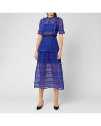 Self-Portrait Short Sleeve Geometric Lace Midi Dress - Black