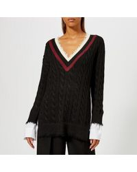 T By Alexander Wang - Women's Hybrid Meets Varsity Pullover With Poplin Combo - Lyst