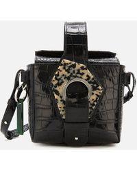 Ganni Croc Print Bucket Bag - Black