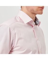 Eton of Sweden - Men's Slim Fit Micro Check With Palm Print Trim Shirt - Lyst