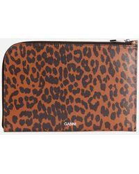 Ganni Leopard Print Leather Pouch - Brown
