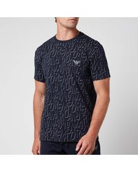 Emporio Armani - All Over Logo Terry Crew Neck T-shirt - Lyst