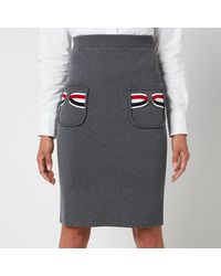 Thom Browne Double Face Pencil Skirt With Rwb Bow Pockets - Grey