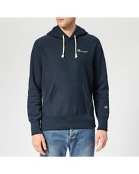 Champion Small Logo Hooded Sweatshirt - Blue