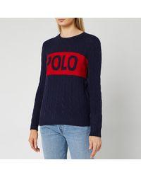 Polo Ralph Lauren Juliana Logo Long Sleeve Sweater - Blue