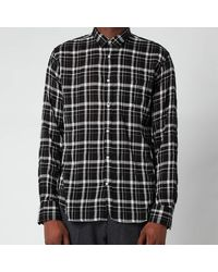 Officine Generale Lipp Tencil Check Shirt - Black