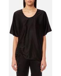 T By Alexander Wang - Women's Asymmetric Drape Short Sleeve Top With Ruche - Lyst