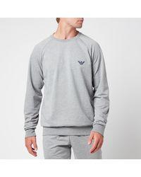 Emporio Armani - All Over Logo Terry Crew Neck Sweatshirt - Lyst