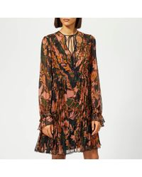 COACH - Forest Floral Print Pleated Dress - Lyst