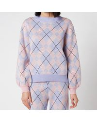 Olivia Rubin Nettie Knitted Check Jumper - Purple